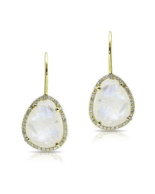 Anne Sisteron - Metallic 14kt Yellow Gold Moonstone Diamond Organic Shape Earrings - Lyst