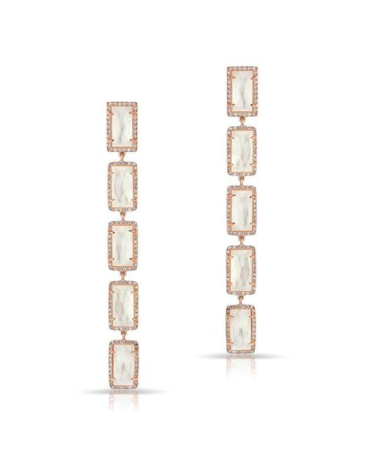 Anne Sisteron | Metallic 14kt Rose Gold Mother Of Pearl Diamond Five Rectangle Drops Shandi Earrings | Lyst