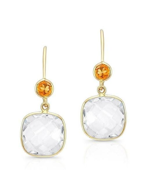 Anne Sisteron - Metallic 14kt Yellow Gold White Topaz Citrine Cushion Cut Earrings - Lyst