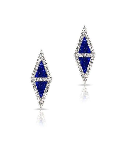 Anne Sisteron - Blue 14kt White Gold Lapis Diamond Double Triangle Stud Earrings - Lyst