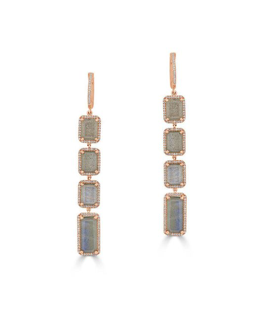 Anne Sisteron - Pink 14kt Rose Gold Labradorite Diamond Geometric Earrings - Lyst