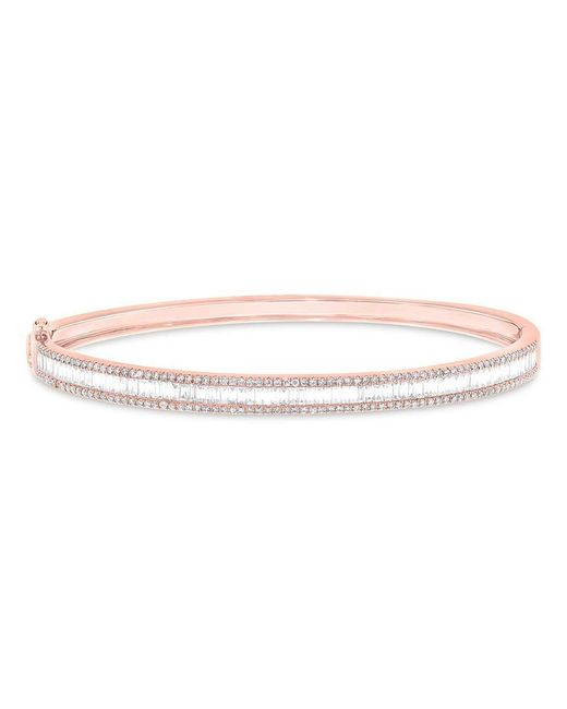 Anne Sisteron - Metallic 14kt Rose Gold Diamond Eloise Baguette Bangle - Lyst