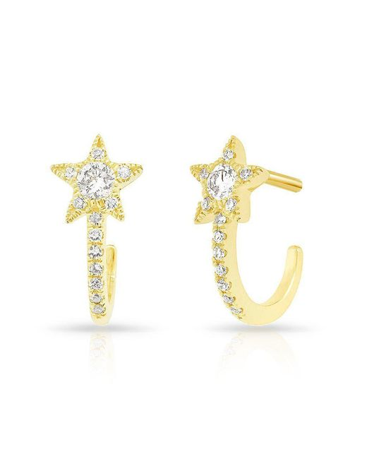Anne Sisteron - Metallic 14kt Yellow Gold Diamond Curved Star Huggie Earrings - Lyst