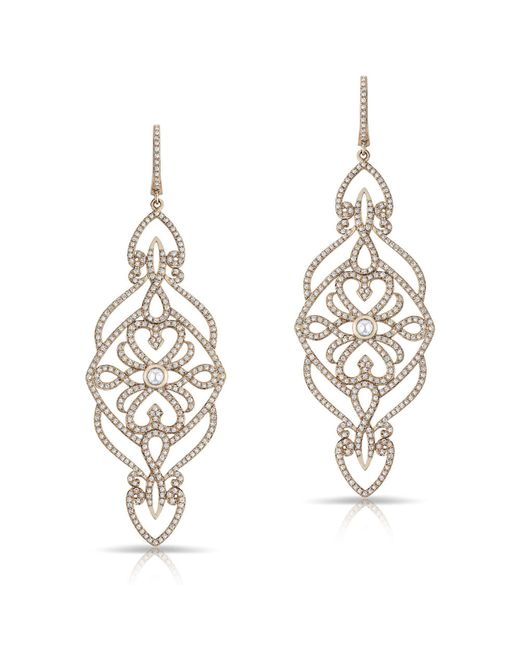 Anne Sisteron - Metallic 14kt Rose Gold Diamond Manoir Diamond Earrings - Lyst