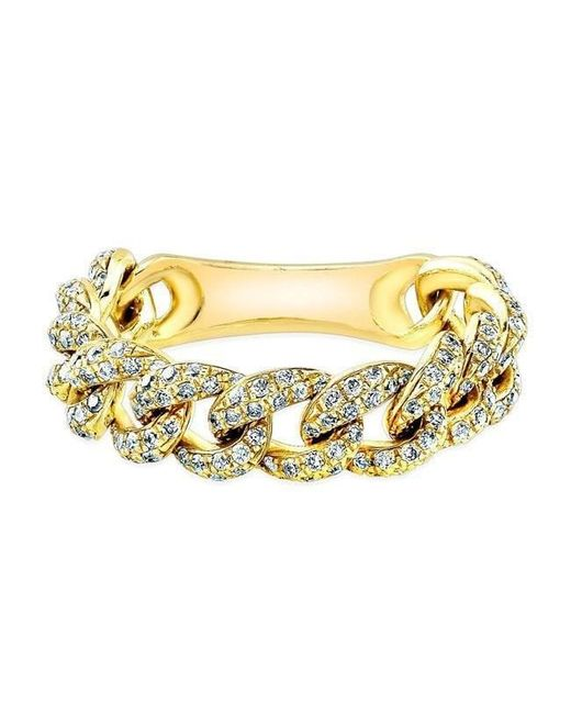 Anne Sisteron - Metallic 14kt Yellow Gold Diamond Thin Chain Link Ring - Lyst