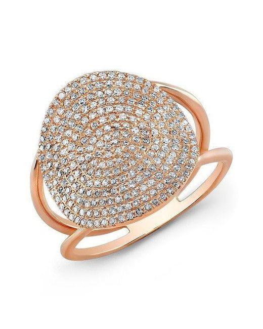 Anne Sisteron | Metallic 14kt Rose Gold Diamond Disc Ring | Lyst
