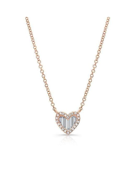 Anne Sisteron | Metallic 14kt Rose Gold Baguette Diamond Heart Necklace | Lyst