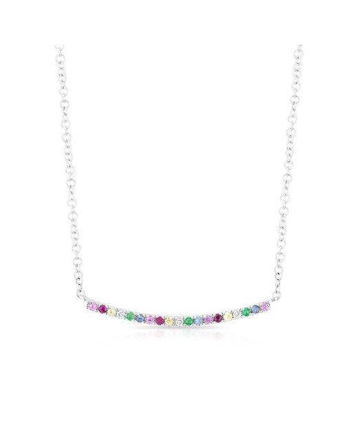 Anne Sisteron - Metallic 14kt White Gold Rainbow Diamond Curved Bar Necklace - Lyst