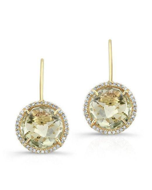 Anne Sisteron | Multicolor 14kt Yellow Gold Green Amethyst Diamond Round Earrings | Lyst