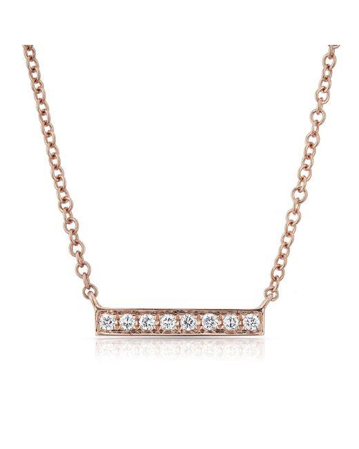 Anne Sisteron | Metallic 14kt Rose Gold Diamond Mini Bar Necklace | Lyst