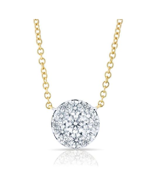 Anne Sisteron - Metallic 14kt Yellow Gold Diamond Round Pendant Laurie Necklace - Lyst