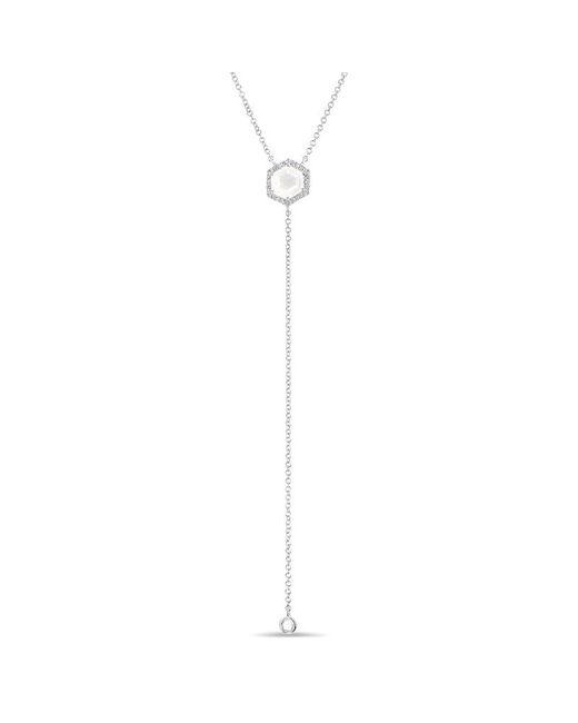 Anne Sisteron   Multicolor 14kt White Gold Moonstone Diamond Hexagon Flirt Lariat Necklace   Lyst