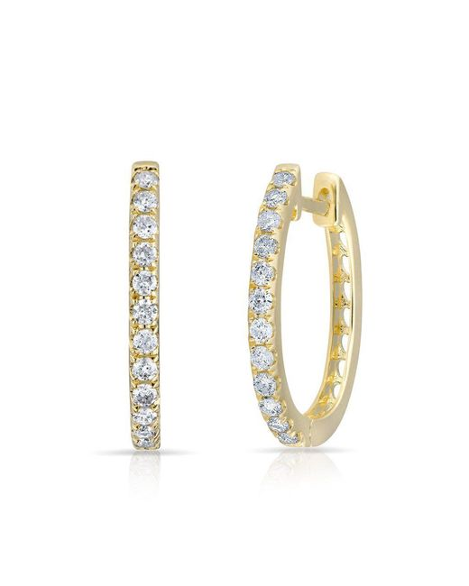 Anne Sisteron - Metallic 14kt Yellow Gold Diamond Marie Hoops - Lyst