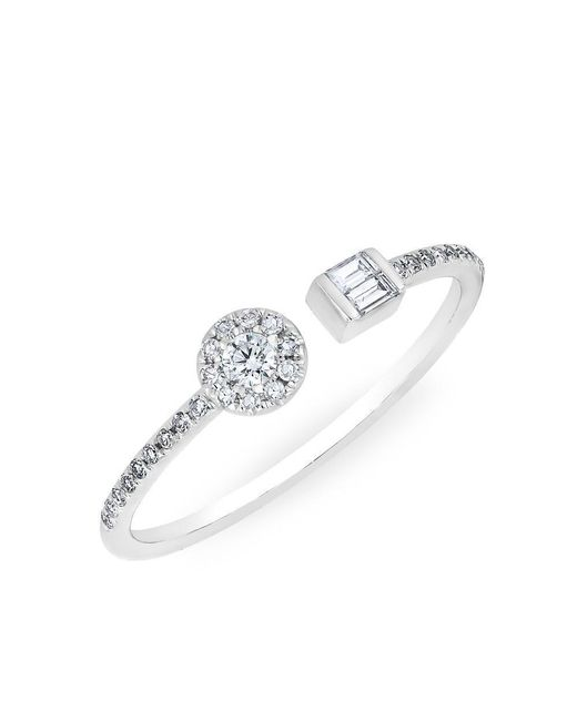 Anne Sisteron - Metallic 14kt White Gold Diamond Baguette And Disc Naima Ring - Lyst