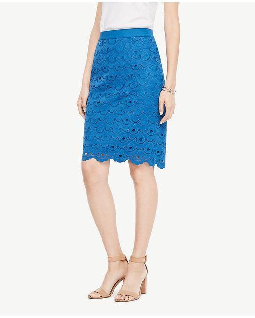 Ann Taylor   Blue Circle Lace Pencil Skirt   Lyst