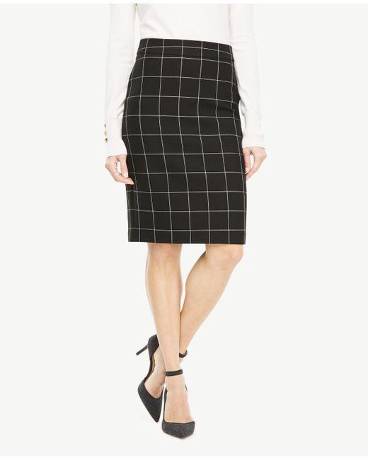 Ann Taylor | Black Curvy Windowpane Pencil Skirt | Lyst