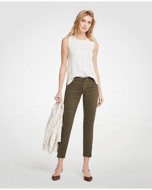 Ann Taylor - Green Curvy Ankle Zip All Day Skinny Crop Jeans - Lyst