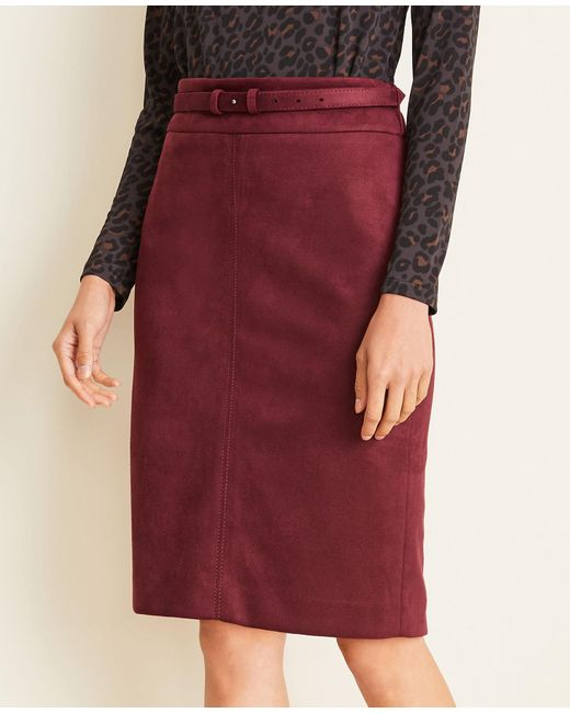 Ann Taylor Red Petite Faux Suede Belted Pencil Skirt