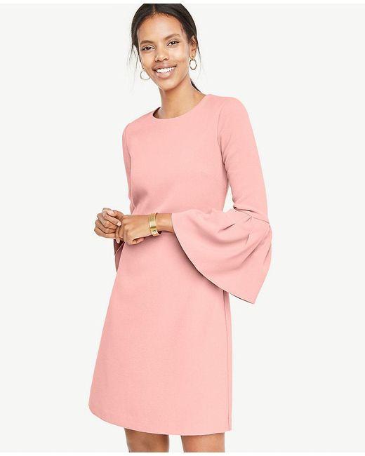 Ann Taylor   Pink Bell Sleeve Flare Dress   Lyst