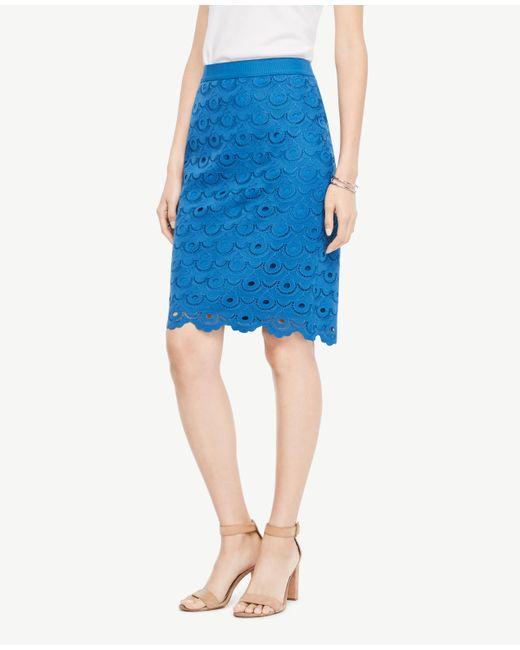 Ann Taylor | Blue Circle Lace Pencil Skirt | Lyst