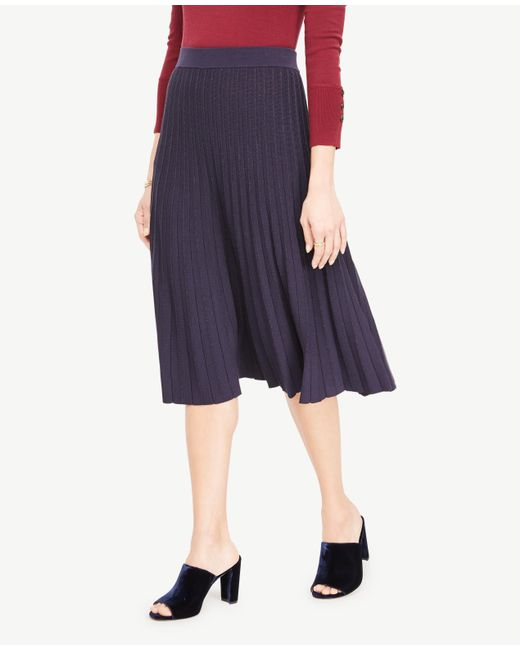 Ann Taylor | Blue Petite Shimmer Pleated Sweater Skirt | Lyst