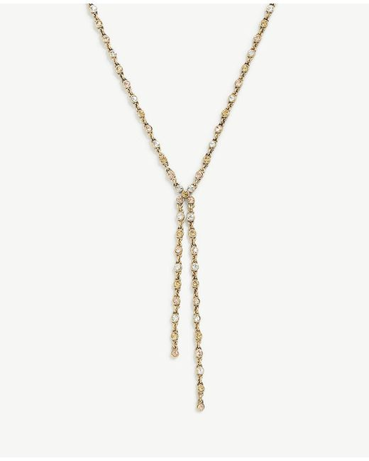 Ann Taylor | Metallic Crystal Lariat Necklace | Lyst