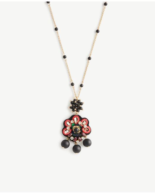 Ann Taylor | Black Embroidered Pendant | Lyst
