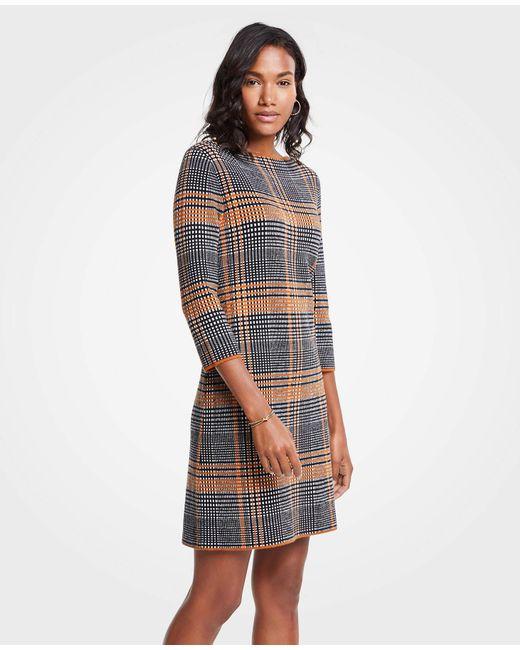 Ann Taylor - Multicolor Plaid Sweater Shift Dress - Lyst