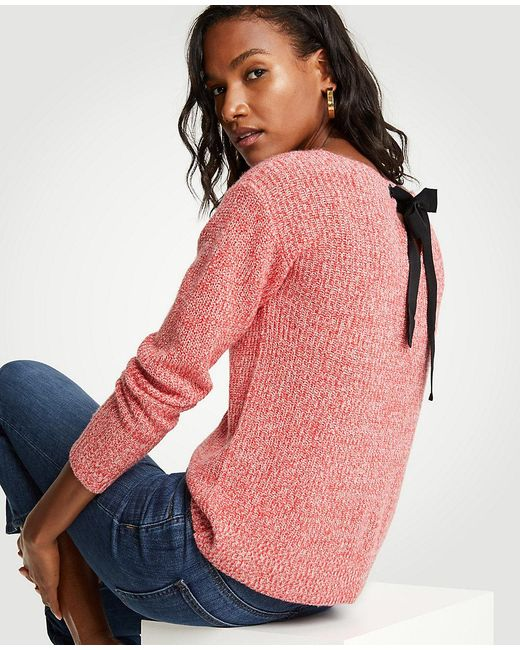 Ann Taylor - Pink Marled Tie Back Sweater - Lyst