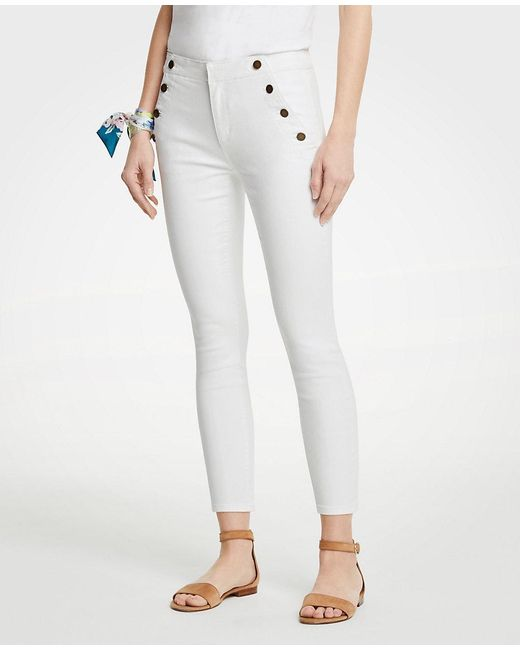 Ann Taylor - White Sailor Skinny Crop Jeans - Lyst