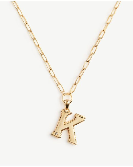 Ann Taylor | Metallic Initial Necklace | Lyst