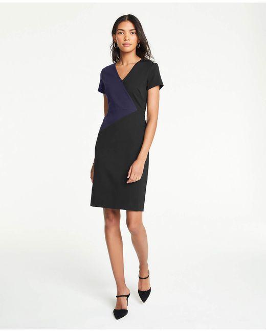 266343f3 Lyst Ann Taylor Petite Colorblock V Neck Ponte Sheath Dress In Black