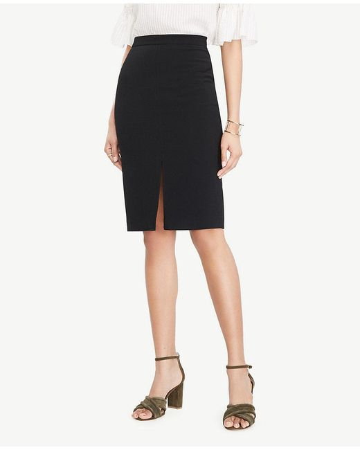 Ann Taylor | Black Textured Slit Pencil Skirt | Lyst