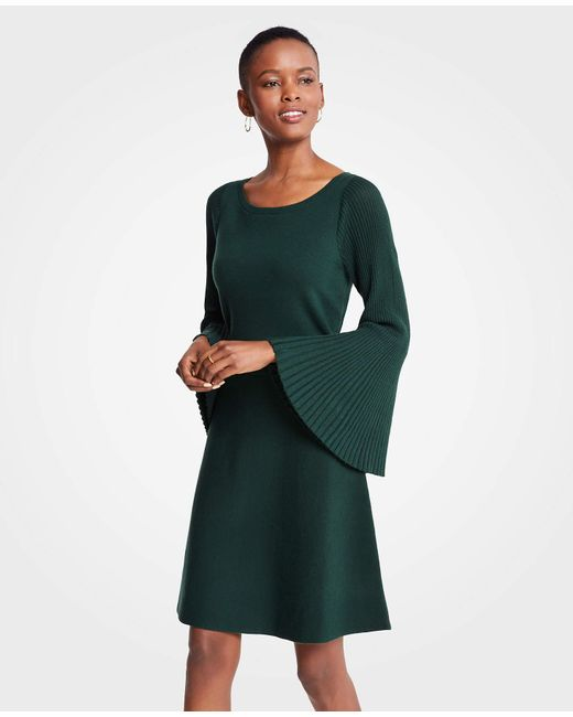 Lyst Ann Taylor Pleated Flare Sleeve Sweater Dress In Green