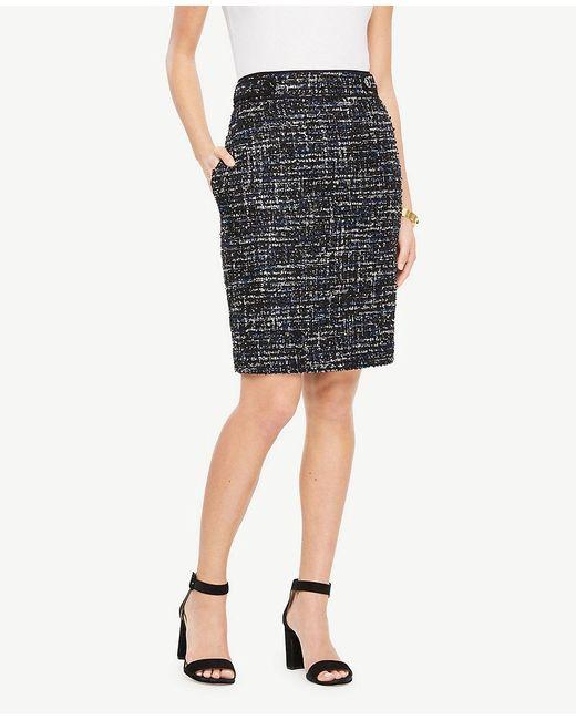 Ann Taylor | Multicolor Tweed Button Tab Skirt | Lyst