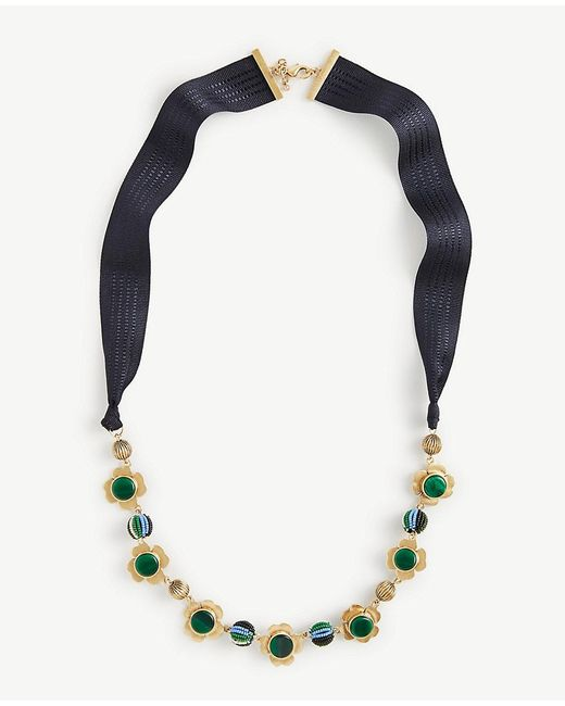 Ann Taylor   Multicolor Pleated Floral Ribbon Necklace   Lyst