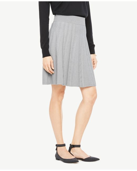 Ann Taylor   Gray Petite Stitched Flare Sweater Skirt   Lyst