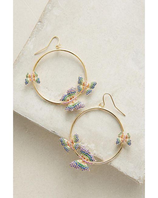 Noir Jewelry   Metallic Butterfly Hoop Earrings   Lyst