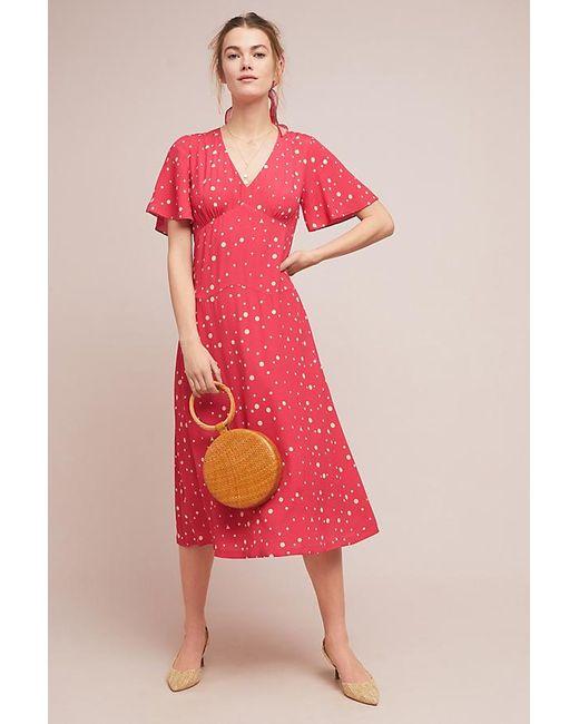 442fd690e9b3 Anthropologie - Red Kachel Betty Spot-print Midi Dress - Lyst ...