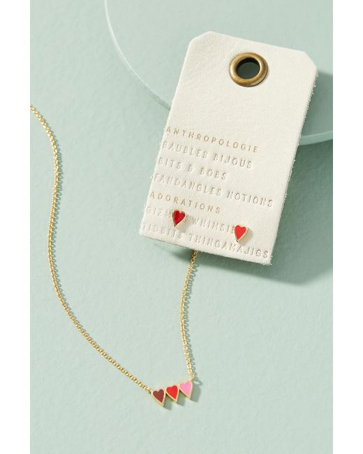 Anthropologie - Metallic Heart Of Hearts Necklace + Earrings Set - Lyst