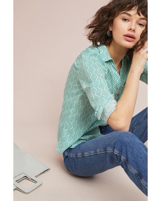 Maeve - Green Rochelle Printed Buttondown - Lyst