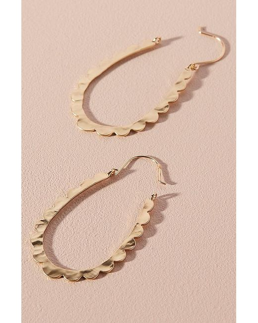 Anthropologie - Metallic Celeste Scalloped Hoop Earrings - Lyst