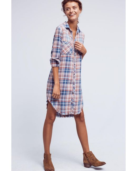 Cloth stone fringed plaid buttondown dress in blue lyst for Is a tunic a dress or a shirt