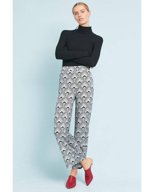 Second Female - White Annika Printed Wide-leg Trousers - Lyst