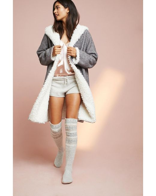Pure + good Fair Isle Over-the-knee Socks in Gray | Lyst