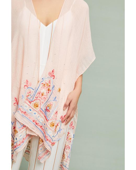 Anthropologie - Pink Meredith Embroidered Kimono - Lyst