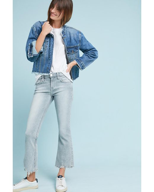 Current/Elliott - Gray The Kick High-rise Cropped Flare Jeans - Lyst