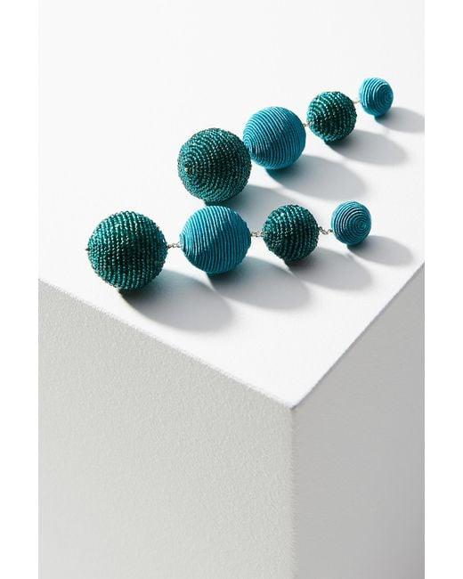 Suzanna Dai | Blue Beaded Disco Drop Earrings | Lyst