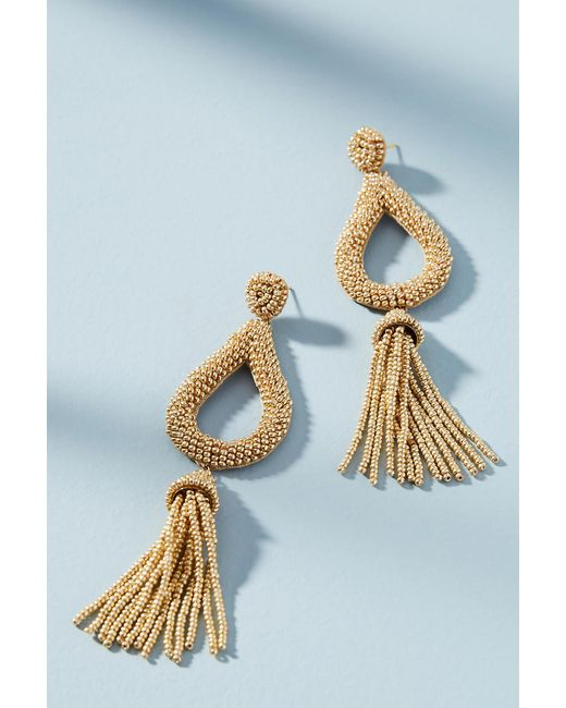 Anthropologie | Metallic Jasmine Tassel Drop Earrings | Lyst