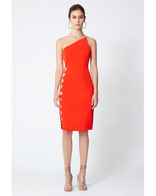 AQ/AQ - Red Emilia One Shoulder Knee Length Dress - Lyst